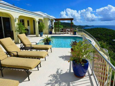 Daffodil Villa St John villa rental, pool and seating area deck