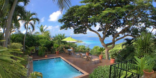 Estate Lindholm hotel, Cruz Bay, St John pool and St Thomas view