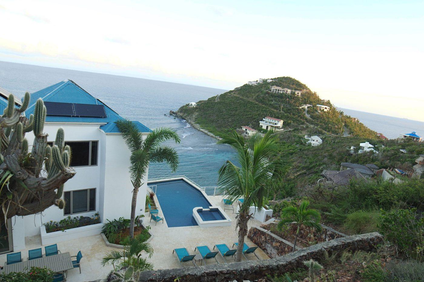 Oceanport Villa, St John aerial view Hart Bay