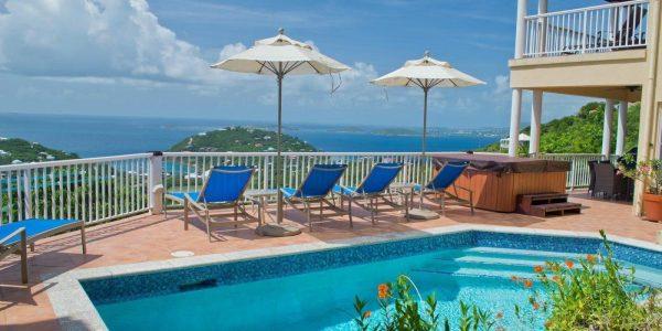Villa Madeira, St John pool and deck view