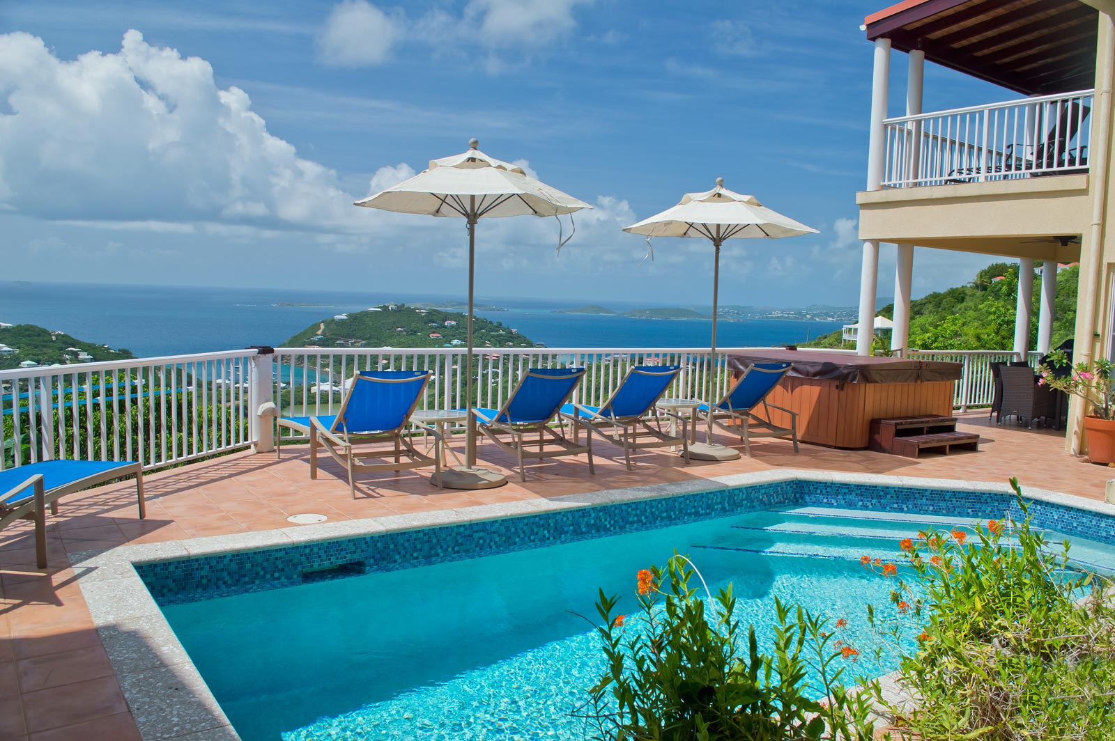 Villa Madeira, St John pool and deck view