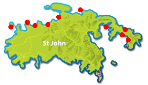 Best snorkeling spots in St John, USVI map