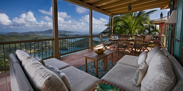 La Mer villa, outdoor seating with view of Coral Bay, St John