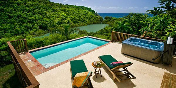 St John rental villa Lille Paradis deck, pool view
