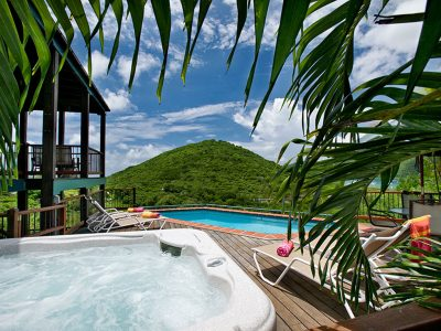 St John rental Villa Madeline pool and view of Coral Bay