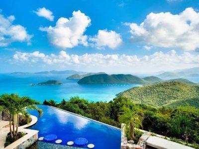 Island Stones Villa, St John pool and BVI ocean views