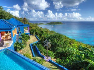 Mare Blu Villa, St John aerial view of pool