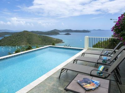 Coconut Breeze Villa, St John, pool and view of Coral Bay