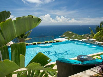 Deja View Villa, St John pool and view of Fish Bay