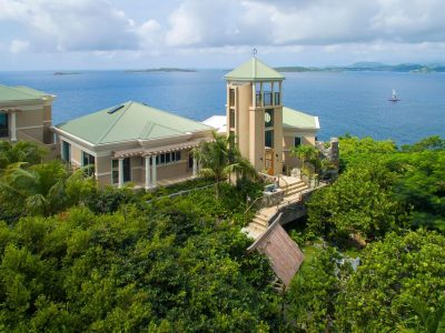 The Point at Maria Bluff Villa, St John aerial