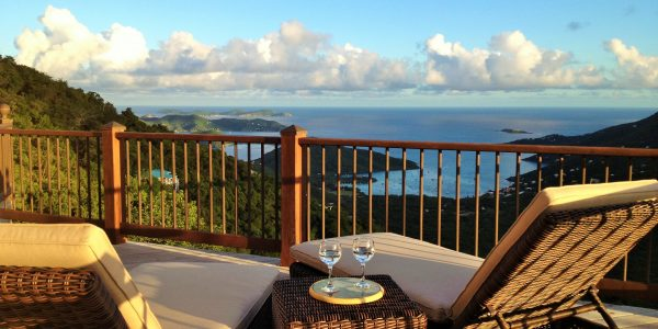 Ocean view of Coral Bay off living room deck