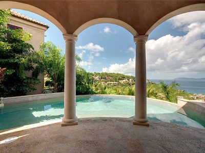 Amorosa Villa, Peter Bay, St John pool deck and view of Peter Bay
