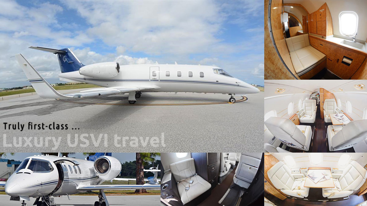Private air charter service to US Virgin Islands, BVIs, Caribbean