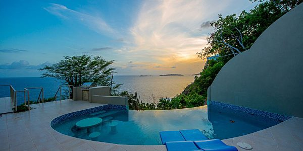 Bordo Mare villa St John sunset pool view