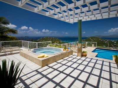 Villa Allesandra, St John trellis and pool ocean view