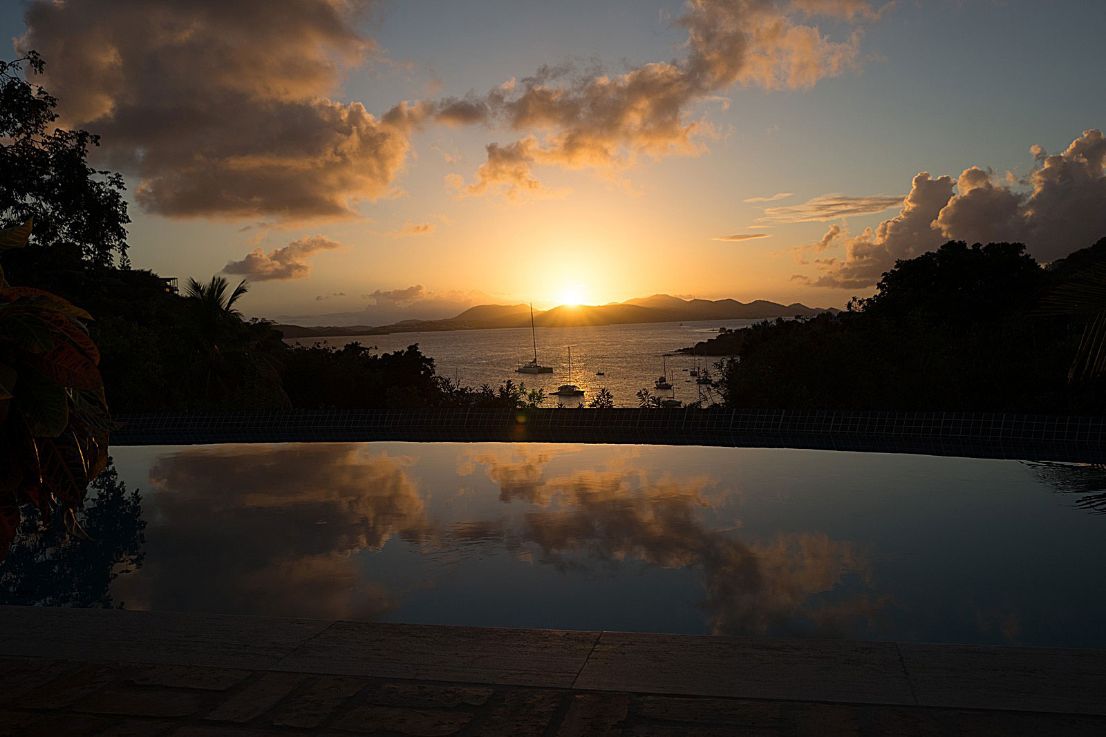 Villa Solare, St John pool sunset
