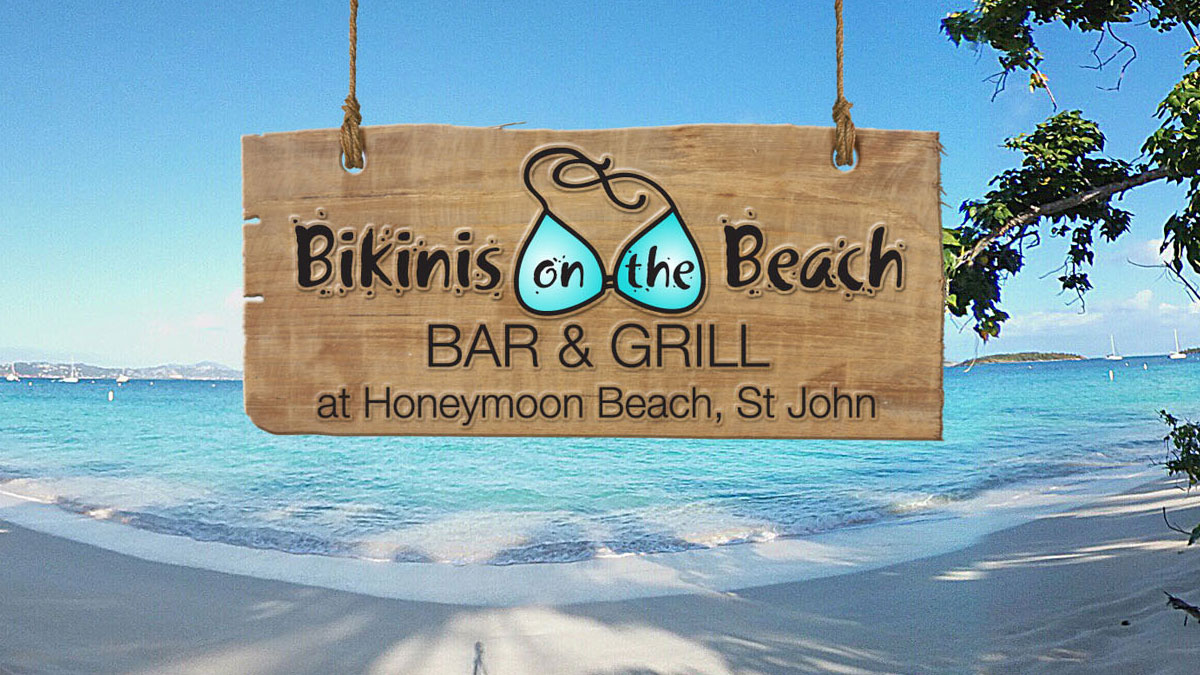 Bikinis on teh Beach Bar & Grill at Honeymoon Beach St John USVI