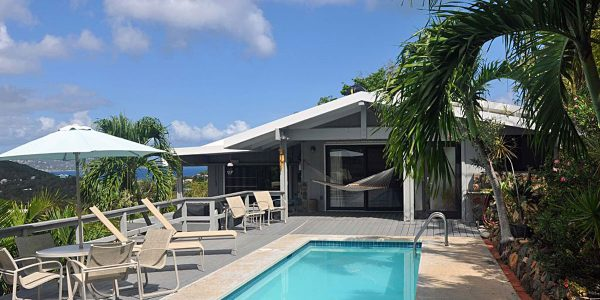 Kia Ora Villa St John vacation rental pool and view