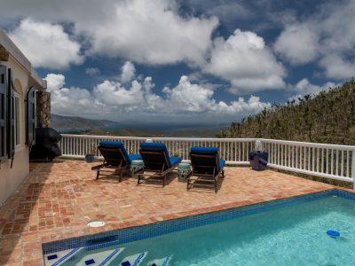 Sapphire Sunrise Villa, St John USVI pool deck view