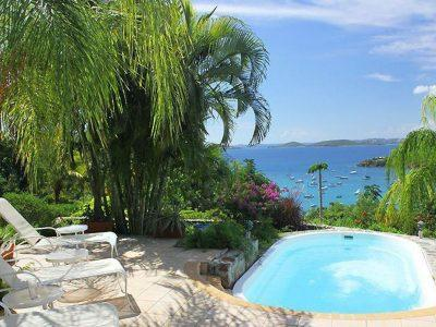 La Collina Villa, St John USVI pool and view of Great Cruz Bay