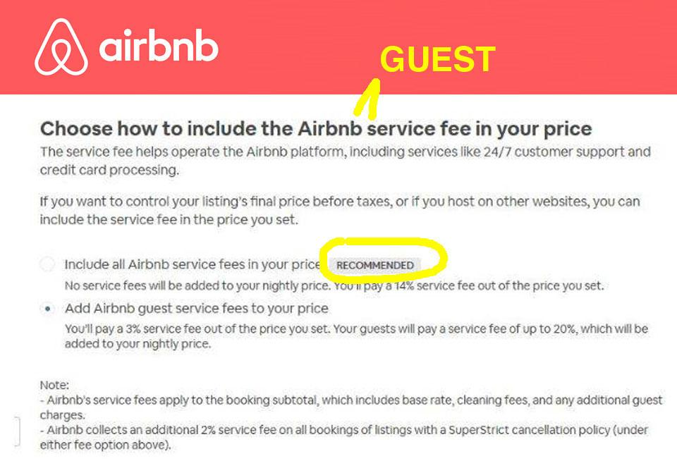 AirBnB hidden fees message to owners