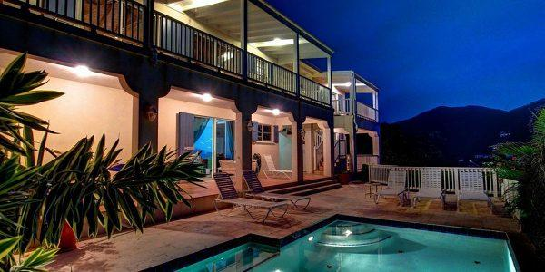 Arco Iris Villa St John night pool lights
