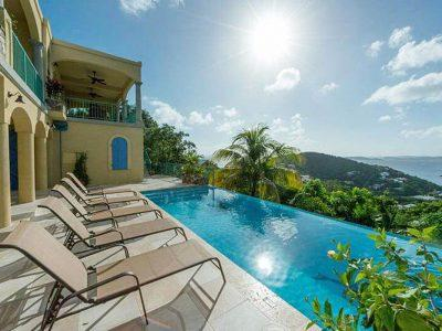Exotic View Villa St John pool view