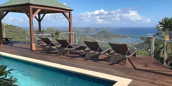 Villa Ixora St John pool gazebo and Coral bay harbor view