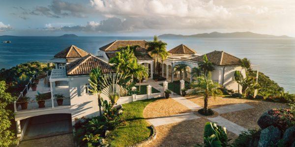 Hawksview Estate luxury villa St John US Virgin Islands aerial view