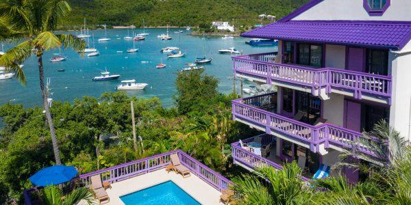 Lavender Hill 8E aerial Cruz Bay harbor