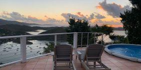 Skyloft Cottage Coral Bay St John pool deck sunrise