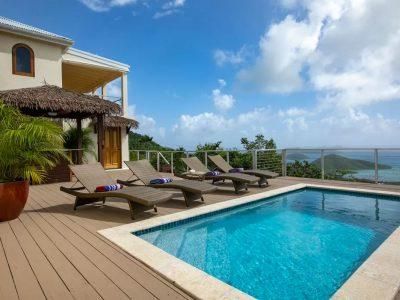 Bayview Villa, Coral Bay, St John pool deck ocean view
