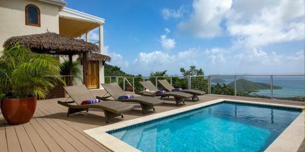 Bayview Villa, Coral Bay, St John pool deck ocean view