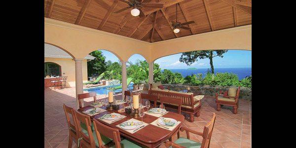 The Peace and Plenty Lanai Overlooks the Caribbean