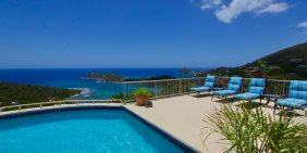 Daffodil Villa St John USVI pool deck loungers and ocean view