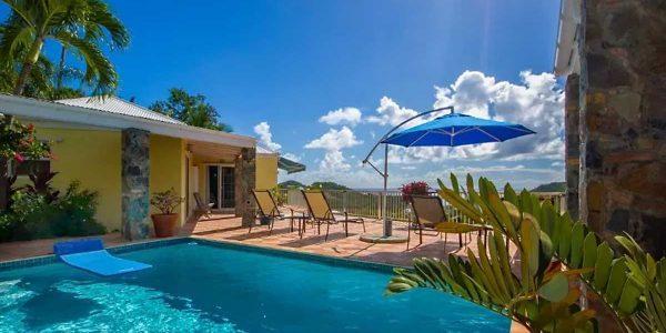 Seawind Villa, St John pool deck and view