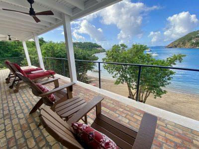 Shangri La Villa, St John patio ocean views beachfront